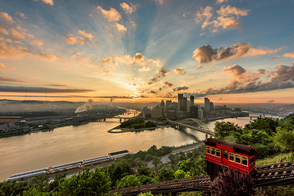 The Duquesne Incline clinmbs Mt. Washington in Pittsburgh during a beautiful sunrise