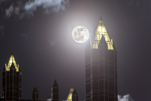 Full moon by the spires of PPG Place in Pittsburgh