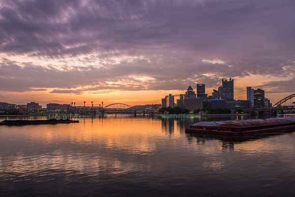 Purple skies over Pittsburgh at dawn