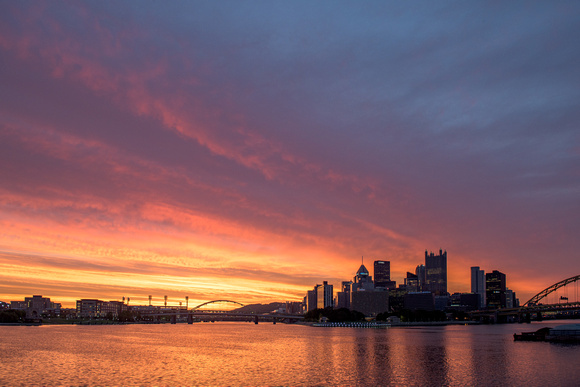 Beautiful colors fill the sky over Pittsburgh at dawn