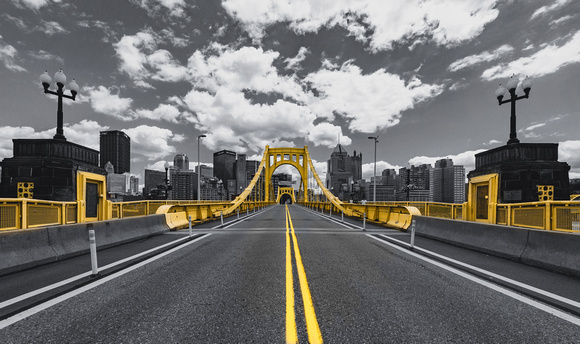 The Roberto Clemente Bridge in PIttsburgh - Black and Gold Edition