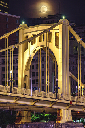 Full moon over the Clemente Bridge in Pittsburgh