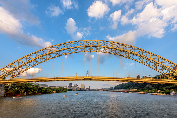 The West End Bridge frames Pittsburgh at dusk