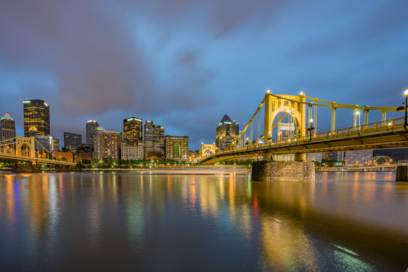 Light trails on the Allegheny River in Pittsburgh