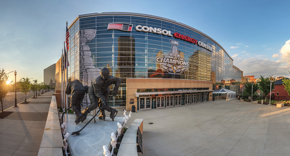Panorama of CONSOL Energy Center and the Stanley Cup Banners in Pittsburgh