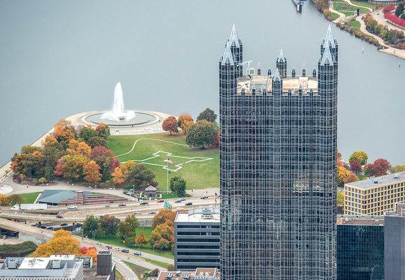 Aerial view of PPG Place and the fountain at the Point in Pittsburgh