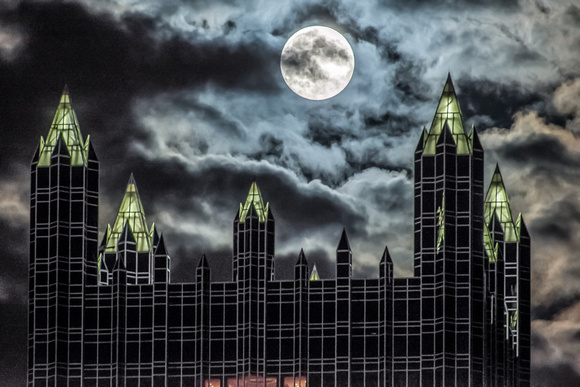 Supermoon over PPG Place in Pittsburgh
