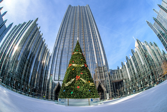 Fisheye view of the Christmas tree at PPG Place
