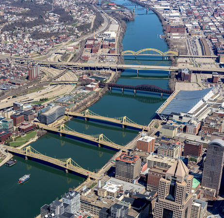 Panorama of an aerial view of the Allegheny River in Pittsburgh