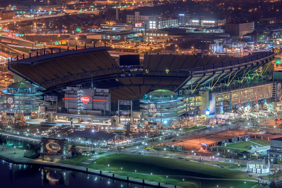 Heinz Field glows in this rooftop view in Pittsburgh