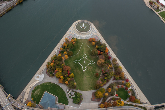 An aerial view of the Point in the fall in Pittsburgh