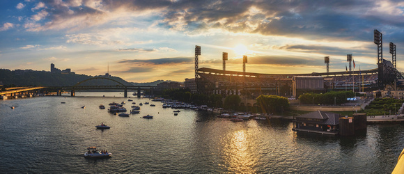 Panorama of PNC Park before the Billy Joel concert in Pittsburgh at dusk
