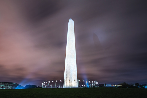 The Washington Monument casts a shadow on low clouds in Washington DC