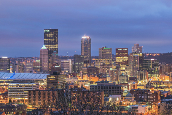 Pittsburgh skyline from the North Side during the morning blue hour