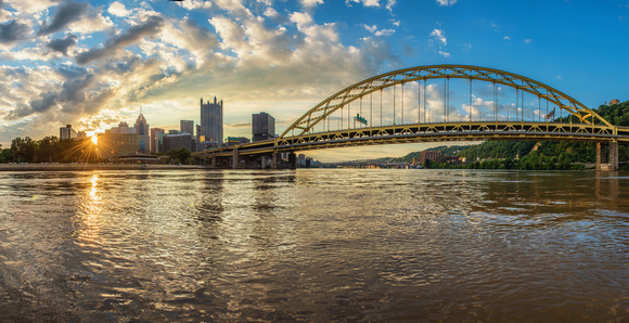 A panorama of the Ft. Pitt Bridge in Pittsburgh