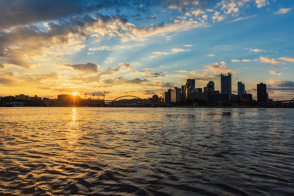 A beautiful sunrise from the rivers of Pittsburgh