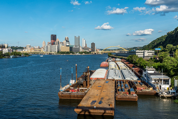 Barges near the West End Bridge in PIttsburgh