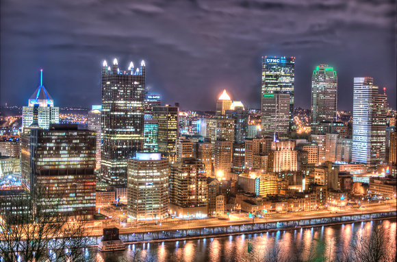 Pittsburgh skyline lit up at night HDR