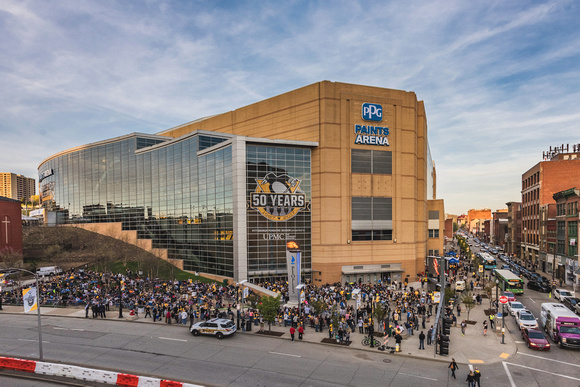 View of PPG Paints Arena in Pittsburgh before the Pens first playoff game