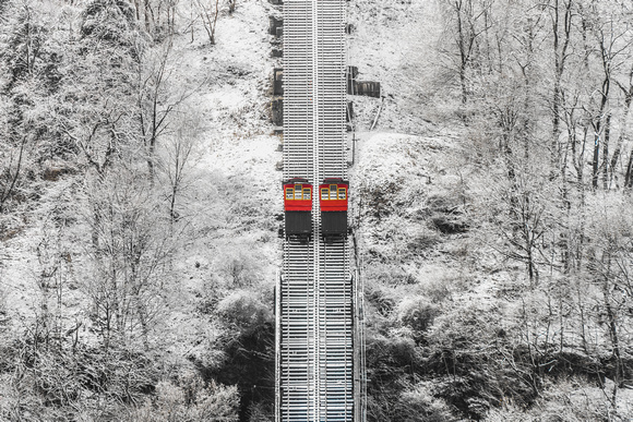 The Duquesne Incline traverses Mt. Washington after a snowstorm