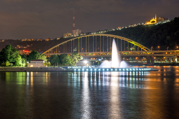 The fountain at Point State Park in Pittsburgh reflects on the night of the Supermoon