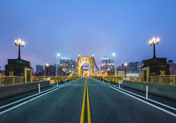A foggy morning on the Clemente Bridge in PIttsburgh