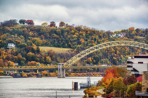 The West End Bridge surrounded by fall colors in Pittsburgh