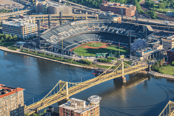 PNC Park and Clemente Bridge from the roof of the Steel Building in Pittsburgh