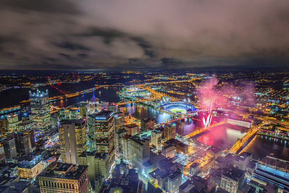 Fireworks in downtown Pittsburgh during Light Up Night 2013 from the roof of the Steel Building