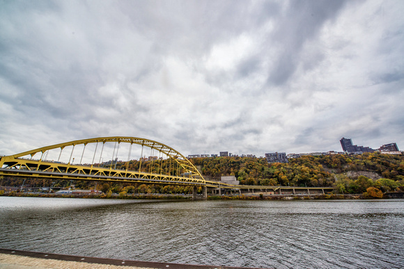 The Ft. Pitt Bridge and Mt. Washington in the fall in Pittsburgh