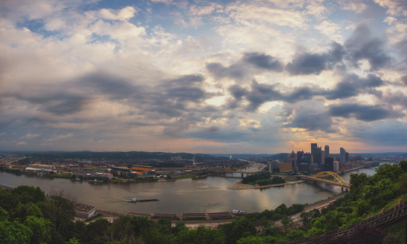 Cloudy skies at sunrise from Pittsburgh panorama