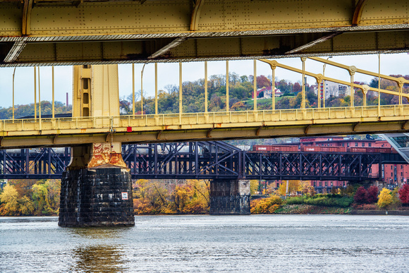 Looking under the Sister Bridges in Pittsburgh in the fall