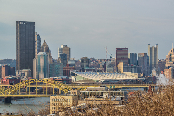 Pittsburgh skyline from above the North Side in the morning