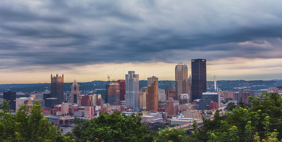 Panorama of Pittsburgh on a cloudy day from Grandview Park