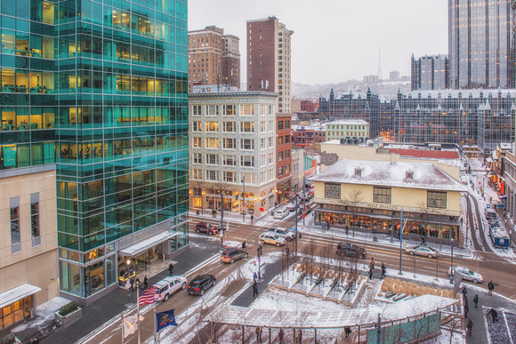 Downtown Pittsburgh in the snow in winter