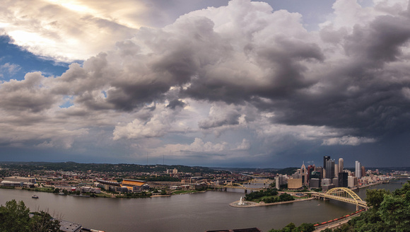 Panorama of storm clouds over downtown Pittsburgh