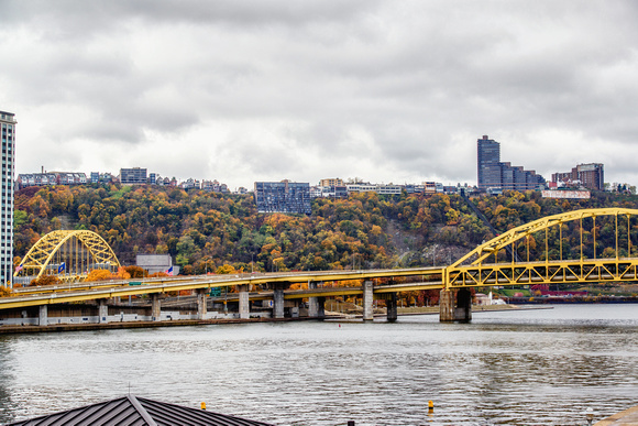 The Ft. Pitt and Ft. Duquesne Bridges in the fall in Pittsburgh