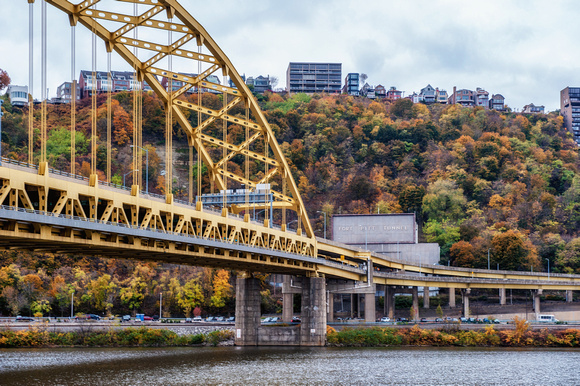 The Ft. Pitt Bridge and Tunnel in Pittsburgh in the fall
