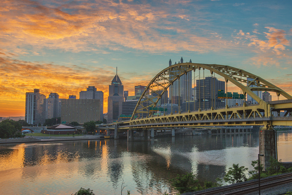Red sky over Pittsburgh and the Ft. Pitt Bridge at sunrise