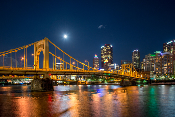 The supermoon over the Andy Warhol Bridge in Pittsburgh