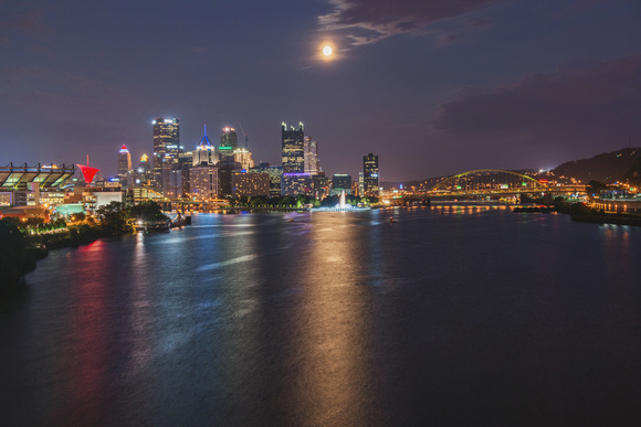 The Supermoon reflects in the Ohio River in Pittsburgh