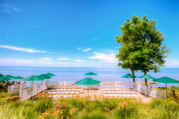 Patio at Geneva on the Lake and Lake Erie HDR