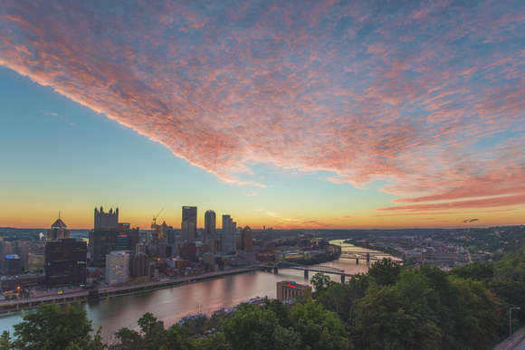 Pink clouds over Pittsburgh at sunrise from Mt. Washington