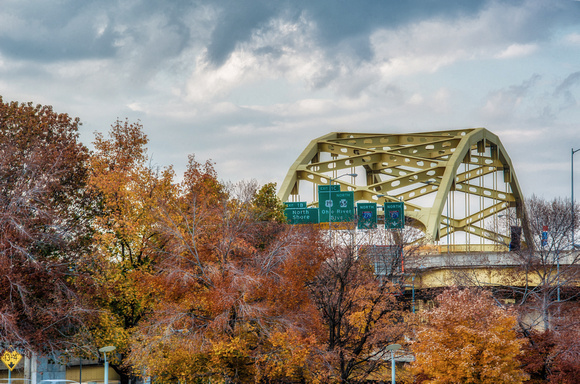The Ft. Duquesne Bridge in fall HDR