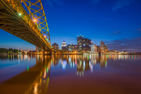 Early morning reflections from underneath the Ft Pitt Bridge in Pittsburgh