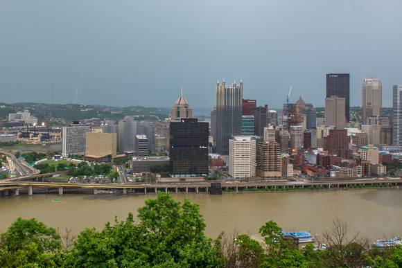 Lightning strikes over Pittsburgh during a storm (4 of 8)