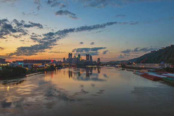 Reflections in the Ohio River at dawn in Pittsburgh
