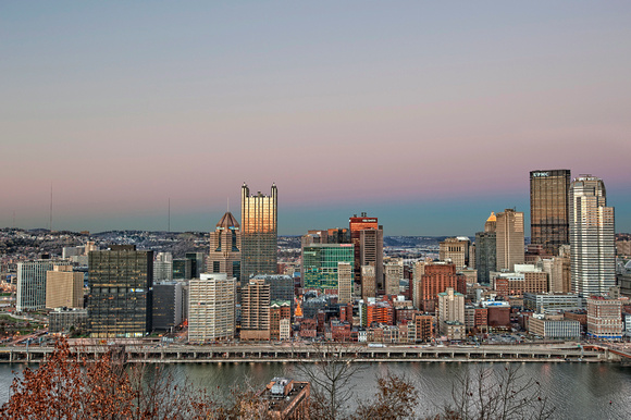 Pittsburgh skyline with colorful sky HDR