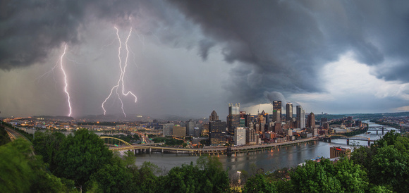 Lightning strikes over the Pittsburgh skyline during a spring thunderstorm