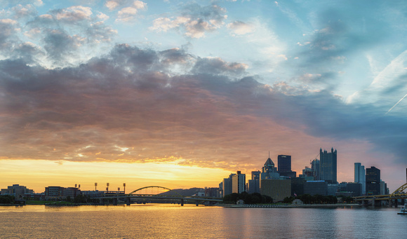 Panorama of dawn in Pittsburgh from the South Shore